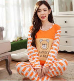 19 Styles Casual Women Pajamas Set Cartoon O-Neck Long Sleeve Pyjamas For Women Summer Nightwear Sleepwear Suit Pink M~XL - Dollar Bargains - 10