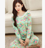 19 Styles Casual Women Pajamas Set Cartoon O-Neck Long Sleeve Pyjamas For Women Summer Nightwear Sleepwear Suit Pink M~XL - Dollar Bargains - 20