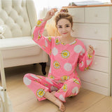 19 Styles Casual Women Pajamas Set Cartoon O-Neck Long Sleeve Pyjamas For Women Summer Nightwear Sleepwear Suit Pink M~XL - Dollar Bargains - 6