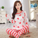 19 Styles Casual Women Pajamas Set Cartoon O-Neck Long Sleeve Pyjamas For Women Summer Nightwear Sleepwear Suit Pink M~XL - Dollar Bargains - 22