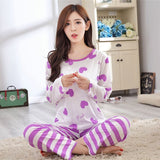 19 Styles Casual Women Pajamas Set Cartoon O-Neck Long Sleeve Pyjamas For Women Summer Nightwear Sleepwear Suit Pink M~XL - Dollar Bargains - 12