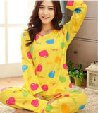 19 Styles Casual Women Pajamas Set Cartoon O-Neck Long Sleeve Pyjamas For Women Summer Nightwear Sleepwear Suit Pink M~XL - Dollar Bargains - 16