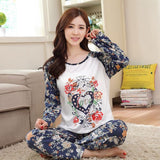 19 Styles Casual Women Pajamas Set Cartoon O-Neck Long Sleeve Pyjamas For Women Summer Nightwear Sleepwear Suit Pink M~XL - Dollar Bargains - 5