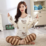 19 Styles Casual Women Pajamas Set Cartoon O-Neck Long Sleeve Pyjamas For Women Summer Nightwear Sleepwear Suit Pink M~XL - Dollar Bargains - 3