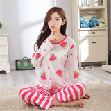 19 Styles Casual Women Pajamas Set Cartoon O-Neck Long Sleeve Pyjamas For Women Summer Nightwear Sleepwear Suit Pink M~XL - Dollar Bargains - 8