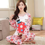 19 Styles Casual Women Pajamas Set Cartoon O-Neck Long Sleeve Pyjamas For Women Summer Nightwear Sleepwear Suit Pink M~XL - Dollar Bargains - 21