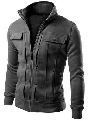 New Fashion Men's Hoodies Zip-up Pockets Casual Long Sleeved Plus Size Brand Clothing Fit Sweatshirts 5 Colors Sudaderas-Dollar Bargains Online Shopping Australia