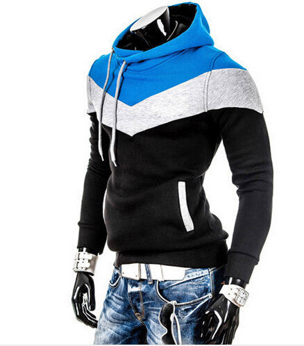 Black blue / MIMC New Spring Autumn Mens Casual Slim Fit Hooded Hoodies Sweatshirt Sportswear Male Patchwork Fleece Jacket 6 Colors M-3XL