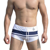 Attractive Top Design Men Sexy Beach Pants Shorts Stripe Color Matching Boxer Trunks Swimwear AP 18-Dollar Bargains Online Shopping Australia