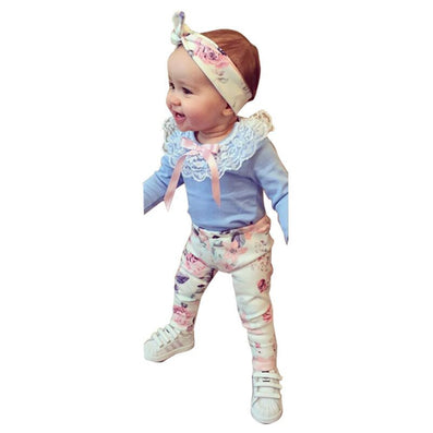 baby girls clothing set Hair band+T shirt+Pants born 3pcs/set flower clothes suit-Dollar Bargains Online Shopping Australia