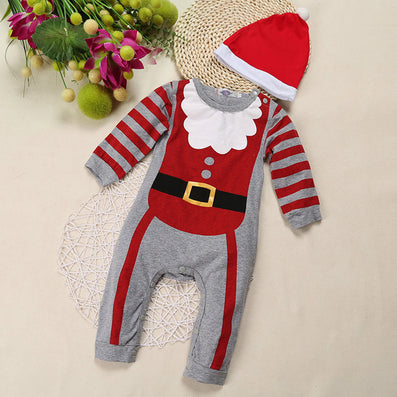 Newborn Boy&Girl Christmas Rompers kids Vestidos clothes infant baby bebe jumpsuit clothing Top+Hat 2Pcs New years gift-Dollar Bargains Online Shopping Australia