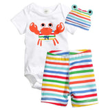 Boys Clothing Set Cotton 8Style Kids Clothes Baby Boy Girl Short Sleeve And Pants Set Cute Animal 3 PCS 1Set HB005-Dollar Bargains Online Shopping Australia