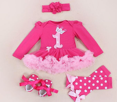 Baby Girl Clothing Sets baby Word crown Lace Tutu Romper Dress Jumpersuit+Headband+Shoes 4pcs Set Bebe First Birthday Costumes-Dollar Bargains Online Shopping Australia