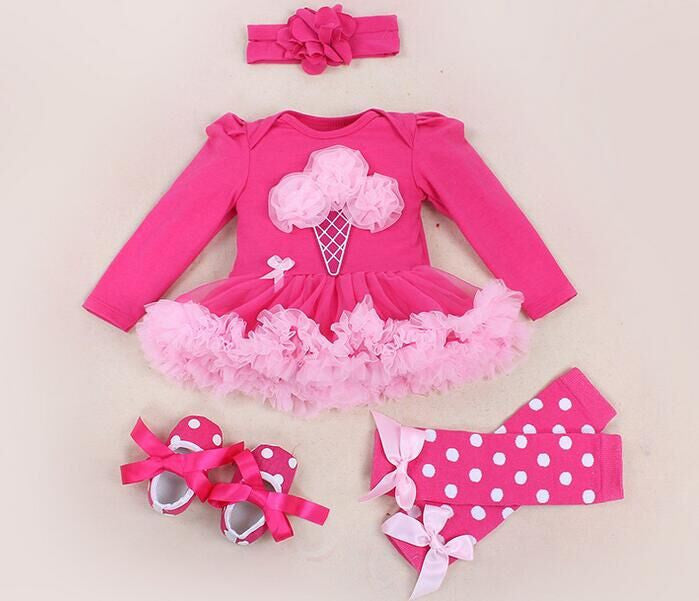 Baby Girl Clothing Sets baby Word crown Lace Tutu Romper Dress Jumpersuit+Headband+Shoes 4pcs Set Bebe First Birthday Costumes