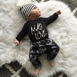 Spring Autumn Baby Boys Girls Clothes Sets Letter Printed Romper + Pants Sets Baby Girls Cotton Baby Clothing Sets Kids Clothes-Dollar Bargains Online Shopping Australia