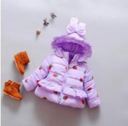 Baby girls clothes cotton-padded kids winter jacket Strawberry outwear parka children's clothing girls winter coats-Dollar Bargains Online Shopping Australia