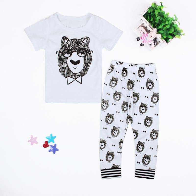 white / 4-6 monthsSummer Clothing Sets New Born Baby Boys Girls Kids T-shirts+ Pants Cartoon Kids Clothes Children Infantil Menino