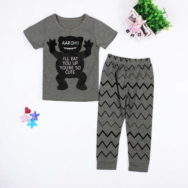 grey / 4-6 monthsSummer Clothing Sets New Born Baby Boys Girls Kids T-shirts+ Pants Cartoon Kids Clothes Children Infantil Menino