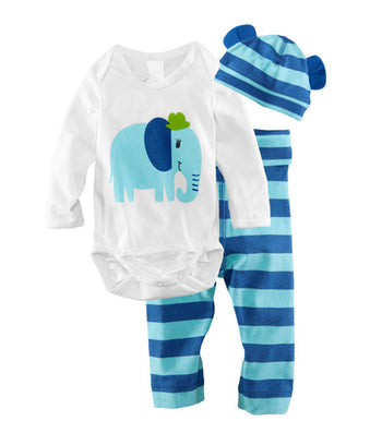 3pcs Newborn Baby Girls Toddler Clothes Cartoon Hat+Romper+Pants Cap Jumpsuit Suit Trousers Bebe Clothing Set Roupa Infantil New-Dollar Bargains Online Shopping Australia