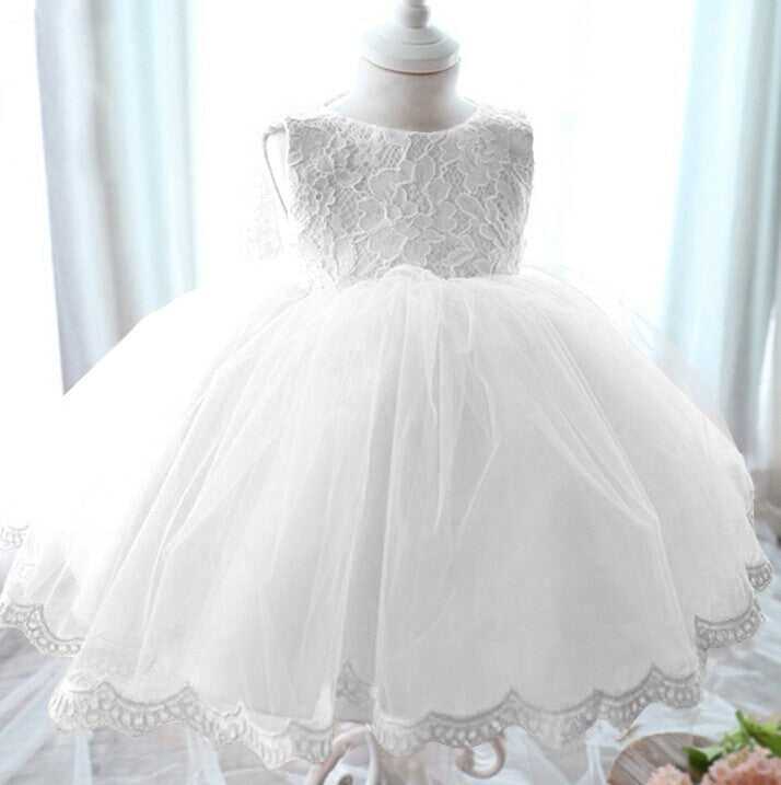 G4B / 3TElegant Girl Dress Girls Summer Fashion Pink Lace Big Bow Party Tulle Flower Princess Wedding Dresses Baby Girl dress