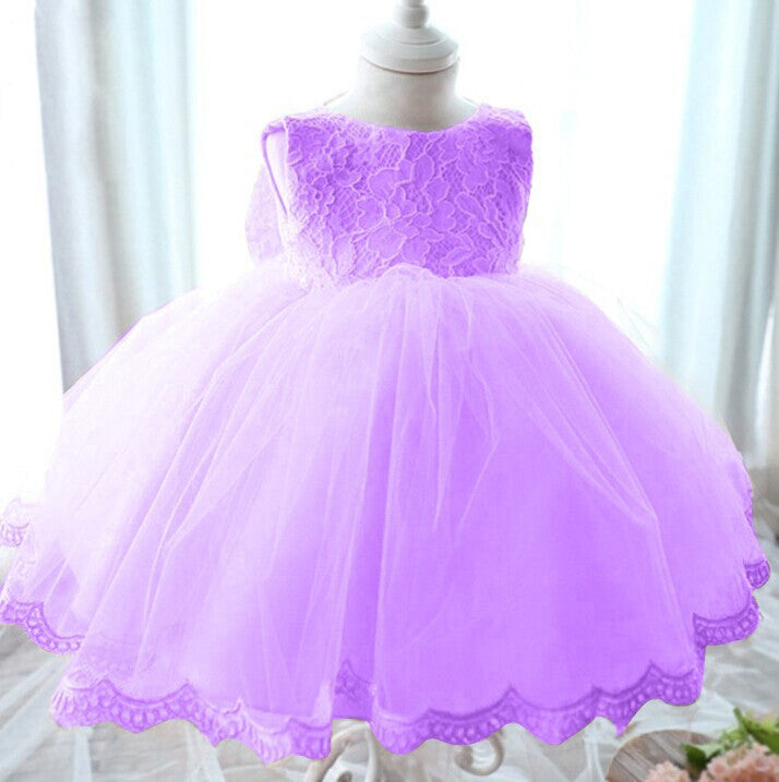 Elegant Girl Dress Girls Summer Fashion Pink Lace Big Bow Party Tulle Flower Princess Wedding Dresses Baby Girl dress