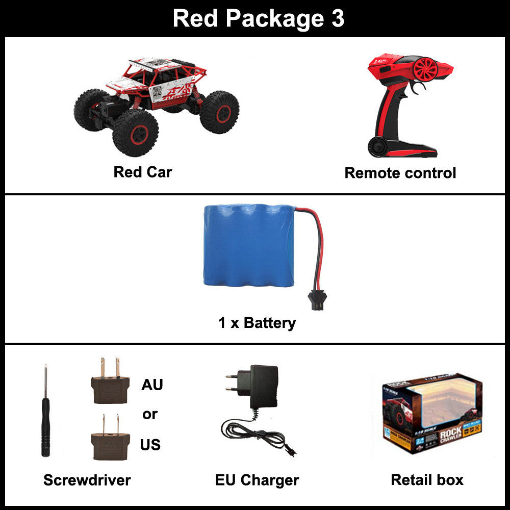 Red Package 3 / ChinaRC Car 2.4G 4CH 4WD Rock Crawlers 4x4 Driving Car Double Motors Drive Bigfoot Car Remote Control Car Model Off-Road Vehicle Toy
