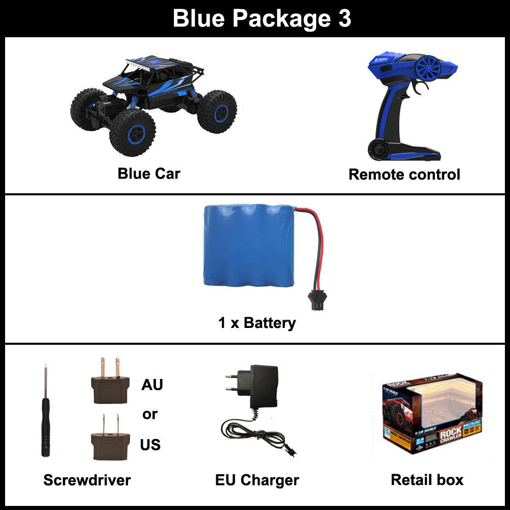 Blue Package 3 / ChinaRC Car 2.4G 4CH 4WD Rock Crawlers 4x4 Driving Car Double Motors Drive Bigfoot Car Remote Control Car Model Off-Road Vehicle Toy