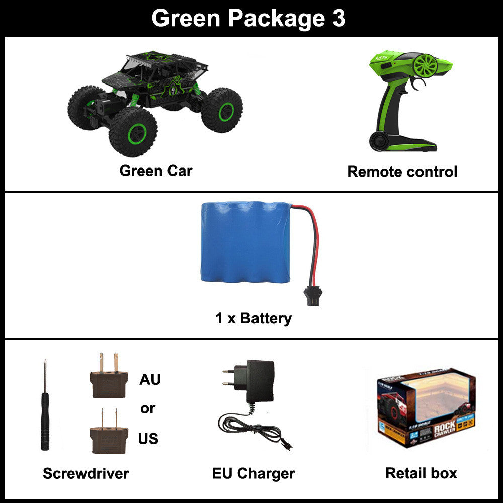 Green Package 3 / ChinaRC Car 2.4G 4CH 4WD Rock Crawlers 4x4 Driving Car Double Motors Drive Bigfoot Car Remote Control Car Model Off-Road Vehicle Toy
