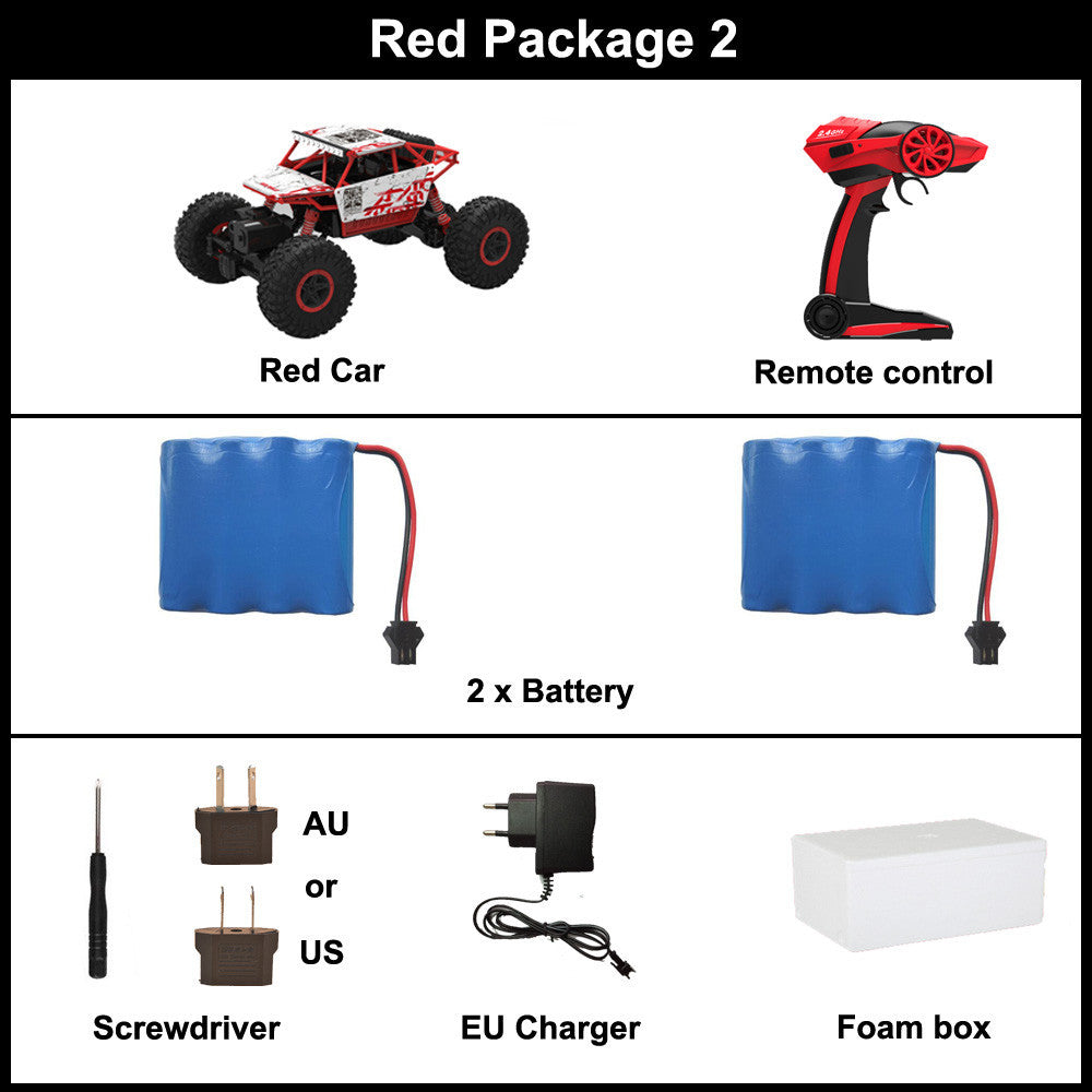 Red Package 2 / ChinaRC Car 2.4G 4CH 4WD Rock Crawlers 4x4 Driving Car Double Motors Drive Bigfoot Car Remote Control Car Model Off-Road Vehicle Toy