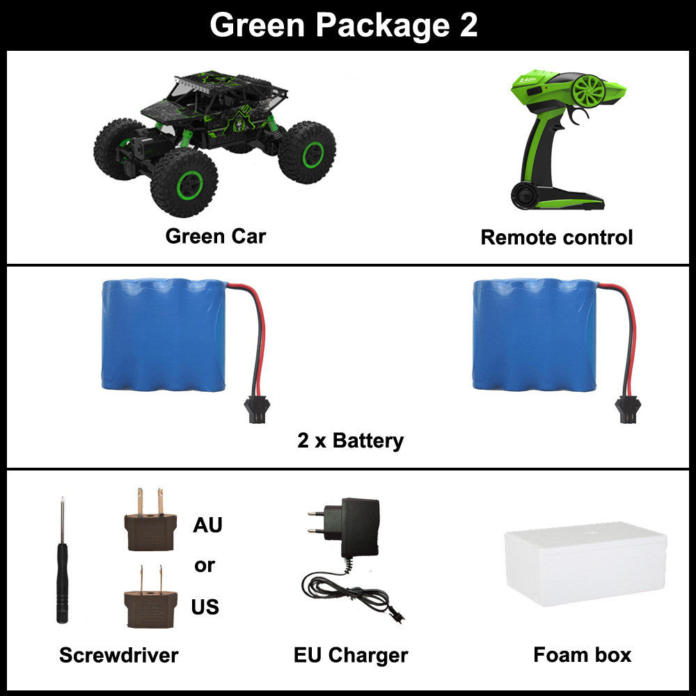 Green Package 2 / ChinaRC Car 2.4G 4CH 4WD Rock Crawlers 4x4 Driving Car Double Motors Drive Bigfoot Car Remote Control Car Model Off-Road Vehicle Toy