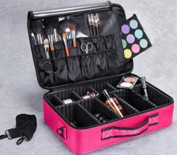 Hot Pink L 2 LayersNew High Quality Professional Empty Makeup Organizer Bolso Mujer Cosmetic Case Travel Large Capacity Storage Bag Suitcases