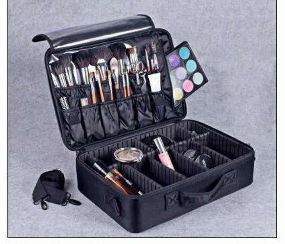 Black L 2 LayersNew High Quality Professional Empty Makeup Organizer Bolso Mujer Cosmetic Case Travel Large Capacity Storage Bag Suitcases