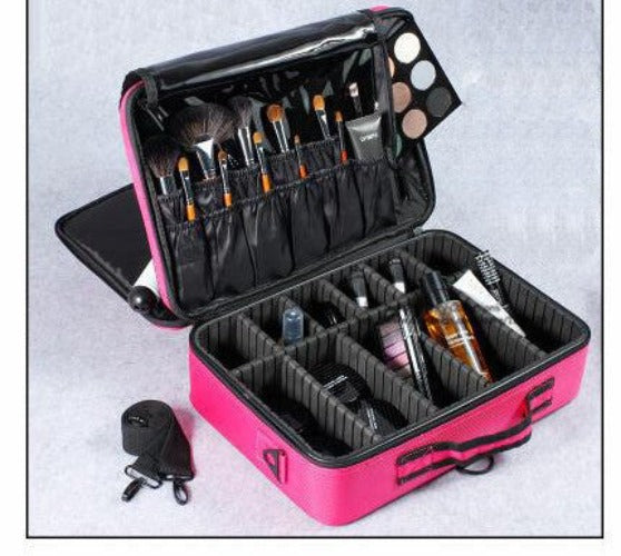 Hot Pink L 3 LayersNew High Quality Professional Empty Makeup Organizer Bolso Mujer Cosmetic Case Travel Large Capacity Storage Bag Suitcases