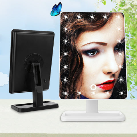 Adjustable Vanity Tabletop Lamp 20 LEDs Lighted LED Touch Screen Mirror  Makeup Portable  Mirror Luminous 180 Rotating Mirror - Dollar Bargains