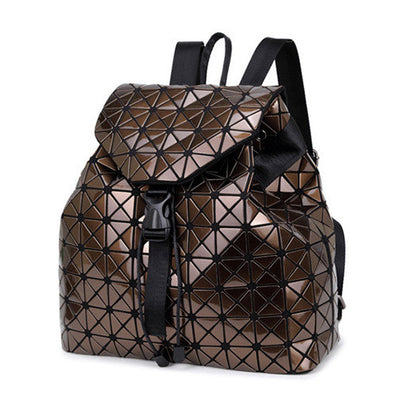 Women backpack geometric patchwork diamond lattice backpack famous brand drawstring bag-Dollar Bargains Online Shopping Australia