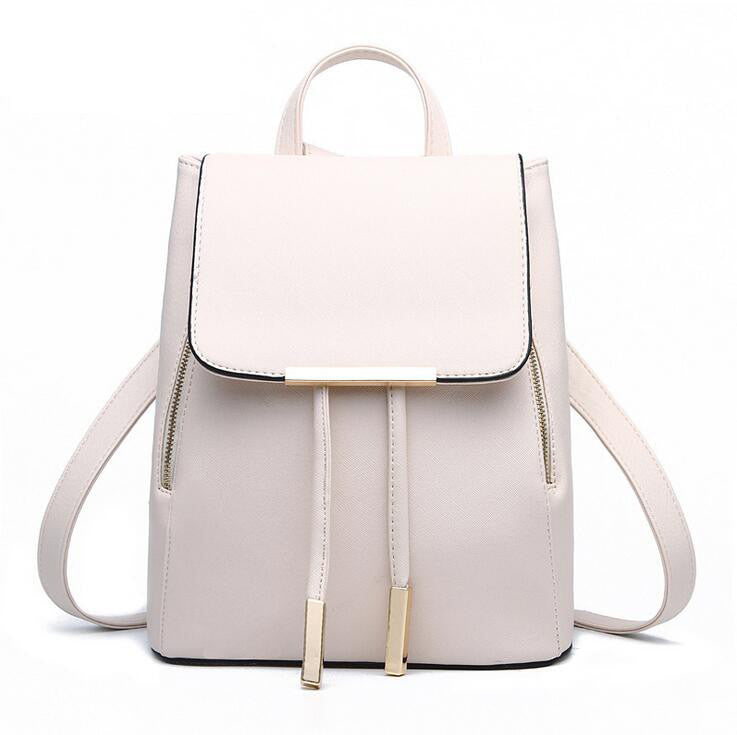 beige / ChinaWomen Backpack High Quality PU Leather Mochila Escolar School Bags For Teenagers Girls Top-handle Backpacks Herald Fashion