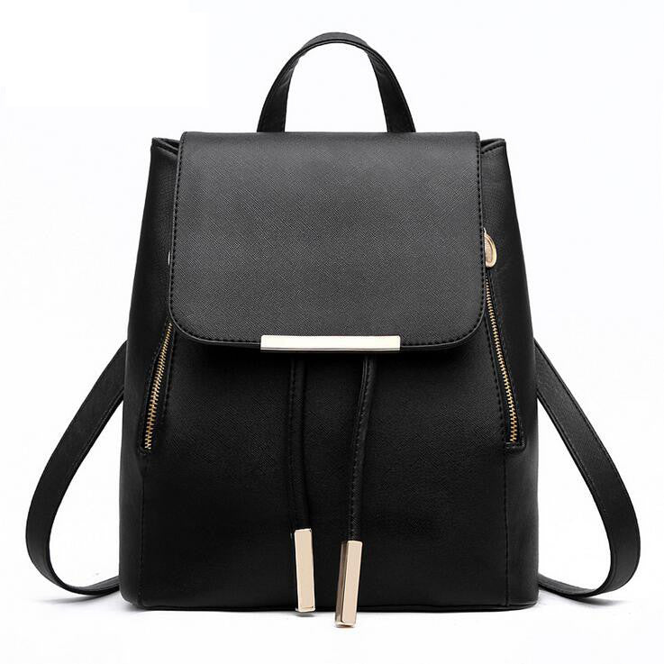 Black / ChinaWomen Backpack High Quality PU Leather Mochila Escolar School Bags For Teenagers Girls Top-handle Backpacks Herald Fashion