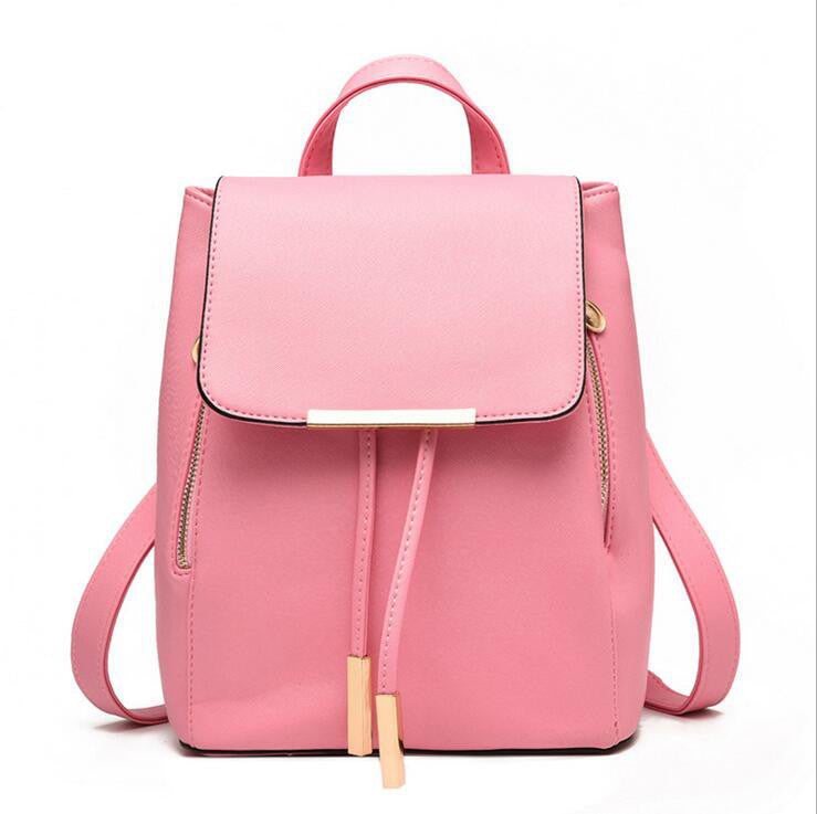 pink / Russian FederationWomen Backpack High Quality PU Leather Mochila Escolar School Bags For Teenagers Girls Top-handle Backpacks Herald Fashion
