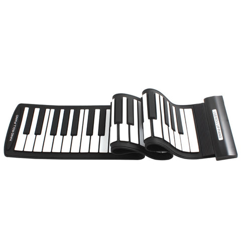 Black+White Flexible 61Keys Professional MIDI Keyboard Electronic Roll Up Piano for Children - Dollar Bargains