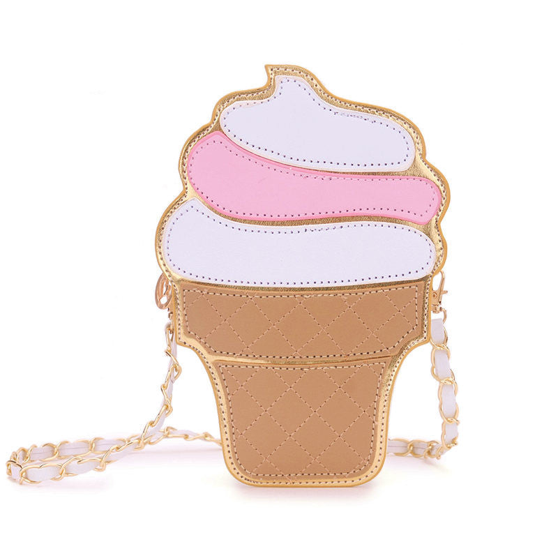 white icecream strapwomem ice cream Bag cake bag PU leather cute Messenger Bags Candy colours Small Size Female chain handbags 3D laser diamond bag