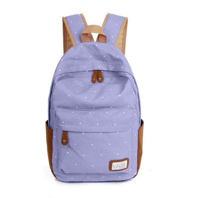 2016 Trendy casual canvas backpack women fashion school bags for girls dot printing backpack shoulder bags mochila - Dollar Bargains - 8