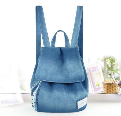 women backpacks female jeans lace shoulder retro bag denim satchel women's bag canvas school bag rucksack-Dollar Bargains Online Shopping Australia