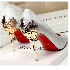New Sexy Mental Heel Women Shoes Suede leather High Heels Women Pumps Flower Metal Heel Stiletto 9 colors-Dollar Bargains Online Shopping Australia