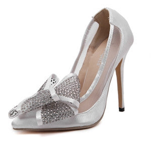 6cf1c0457549 Pointed toe high heels sexy with Rhinestone bowtie high heel pumps ladies  stilettos wedding dress shoes