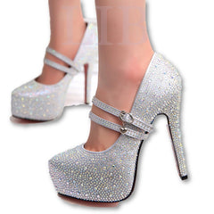 women high heels prom wedding shoes lady crystal platforms silver Glitter rhinestone bridal shoes thin heel party pump-Dollar Bargains Online Shopping Australia