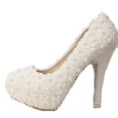 Women Fashion Sweet White Flower Lace Platform High Heels Pearls Wedding Shoes Bride Dress Shoes-Dollar Bargains Online Shopping Australia