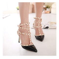 Autumn 10.5cm High Heels T Straps Rivets High Heels Women Sandal Shoes Fashion Patent Leather Woman Shoes-Dollar Bargains Online Shopping Australia