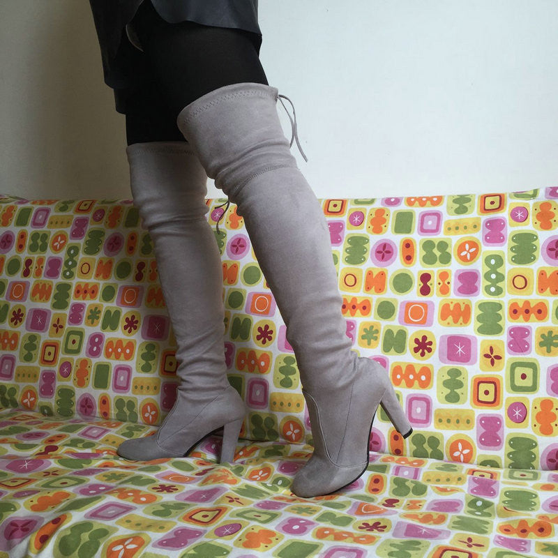 a03c500ac7496e Women Stretch Faux Suede Slim Thigh High Boots Sexy Fashion Over the Knee  Boots High Heels