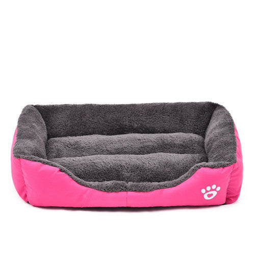 Rose Red / LPet Dog Bed Warming Dog House Soft Material Pet Nest Candy Colored Dog Fall and Winter Warm Nest Kennel For Cat Puppy 5 Colors