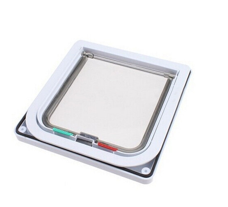 White / M4 Ways Magnetic Lockable Cat Flap Door Samll Dog Gates Pet Supplies